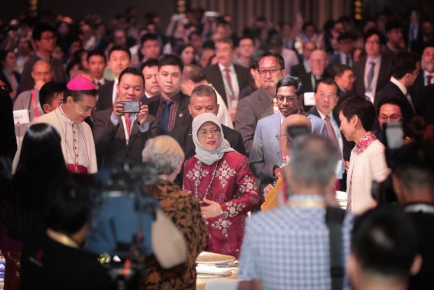 President Halimah Yacob at the International Conference on Cohesive Societies on June 19, 2019.ST PHOTO: KELVIN CHNG